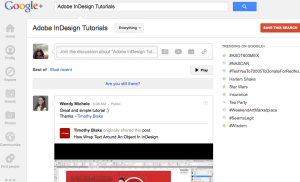 "Screen Snap of the Search Function in Google+ with ""Adobe InDesign Tutorials"" in the search string"