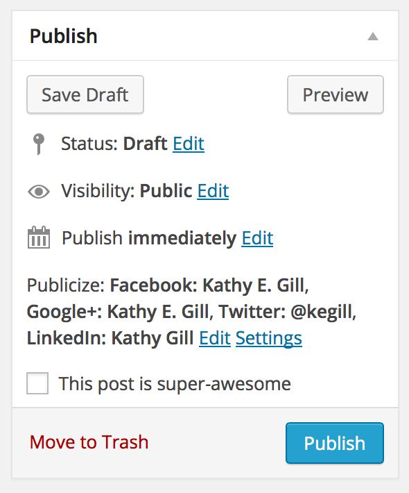 wordpress publish options